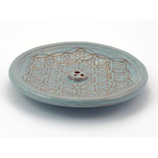 Encensoir - fleur de vie en céramique bleu