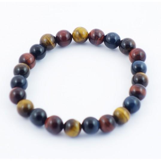 Bracelet perles 8mm - renforcement et vision 3 pierres