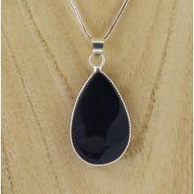 Pendentif - obsidienne argentée goutte